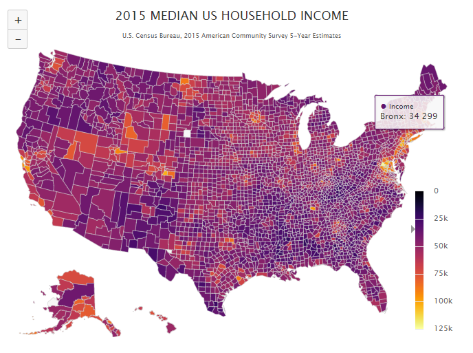 Mapping Median Household Incomes in the US
