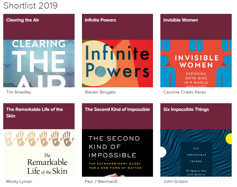2019 Shortlist for the Royal Society Prize for Science Books