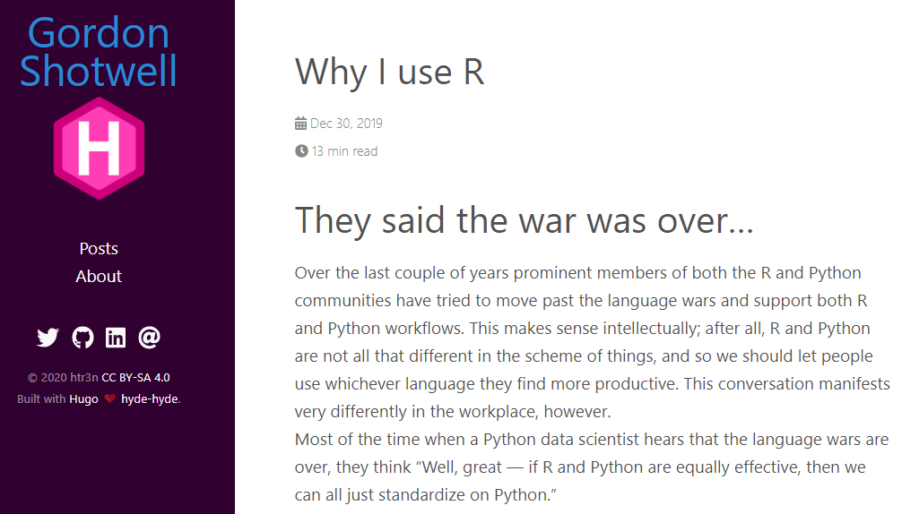 Why Gordon Shotwell uses R