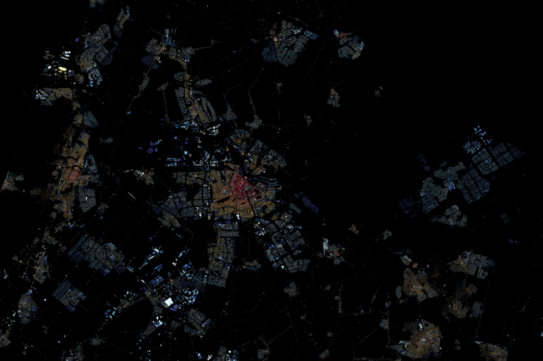 All buildings in the Netherlands, color coded by year ofconstruction