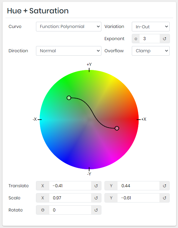 Color curves: Choose a color palette with gradient