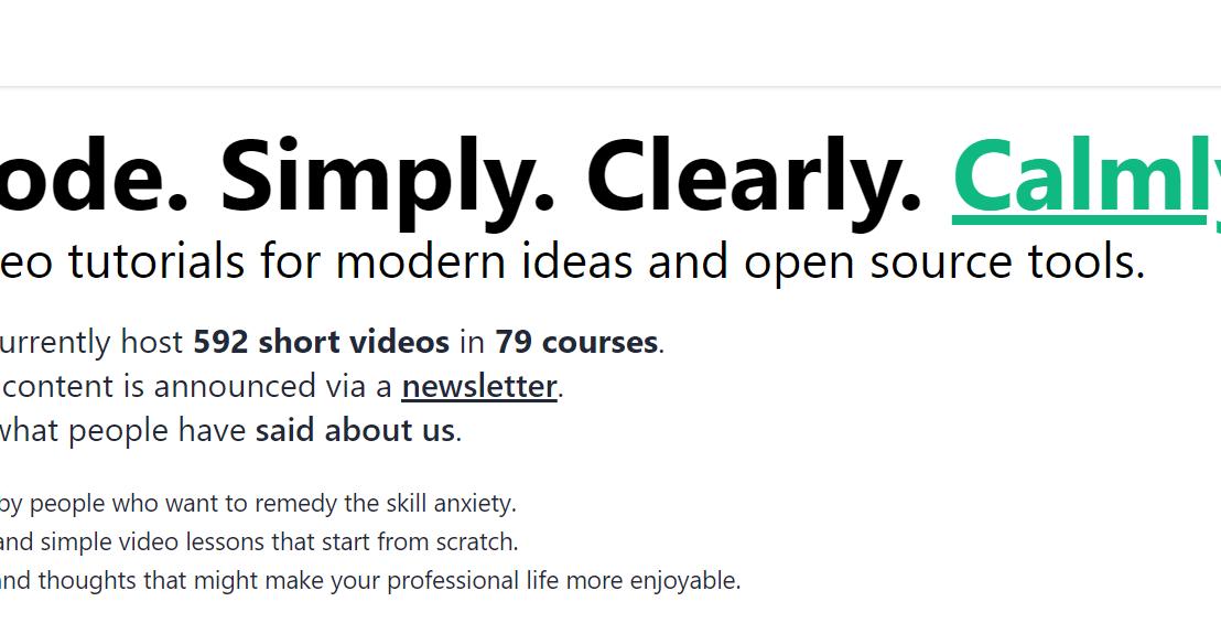 calmcode.io > video tutorials for open sourcetools